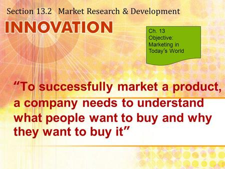 Section Market Research & Development