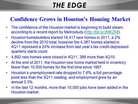 Confidence Grows in Houston's Housing Market The confidence of the Houston market is beginning to build steam, according to a recent report by Metrostudy.