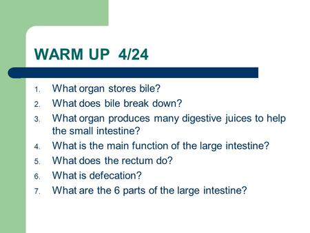WARM UP 4/24 1. What organ stores bile? 2. What does bile break down? 3. What organ produces many digestive juices to help the small intestine? 4. What.