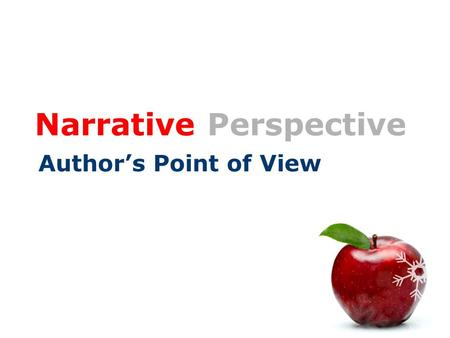 "Narrative Perspective Author's Point of View. Dialogue and Narration  Dialogue = when characters speak.  Narration = when the narrator speaks.  ""Quotation."