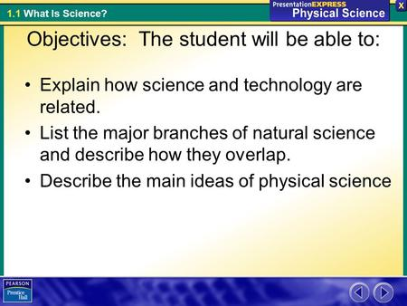 1.1 What Is Science? Objectives: The student will be able to: Explain how science and technology are related. List the major branches of natural science.