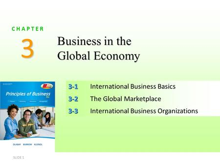SLIDE 1 3-1 3-1International Business Basics 3-2 3-2The Global Marketplace 3-3 3-3International Business Organizations 3 C H A P T E R Business in the.