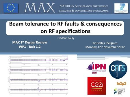Beam tolerance to RF faults & consequences on RF specifications Frédéric Bouly MAX 1 st Design Review WP1 - Task 1.2 Bruxelles, Belgium Monday, 12 th November.