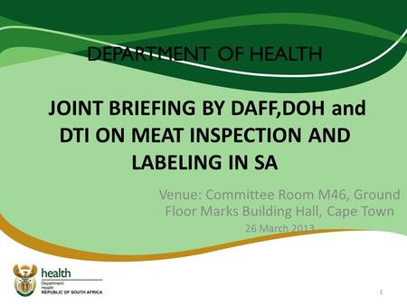 Venue: Committee Room M46, Ground Floor Marks Building Hall, Cape Town