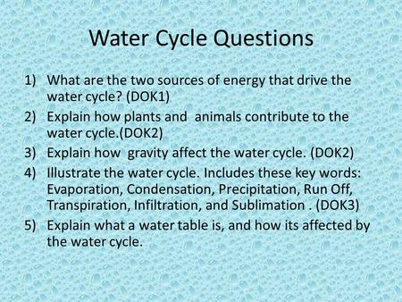 Water Cycle Questions What are the two sources of energy that drive the water cycle? (DOK1) Explain how plants and  animals contribute to the water cycle.(DOK2)