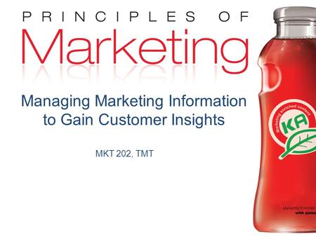 Chapter 4- slide 1 Copyright © 2009 Pearson Education, Inc. Publishing as Prentice Hall MKT 202, TMT Managing Marketing Information to Gain Customer Insights.