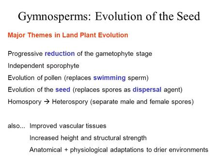 Gymnosperms: Evolution of the Seed