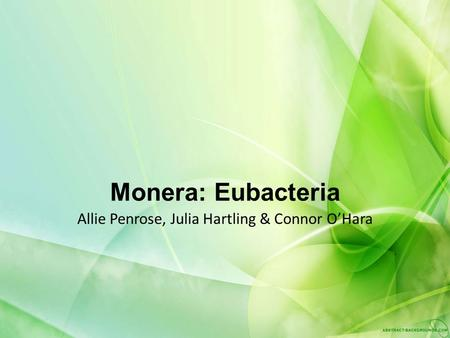 Monera: Eubacteria Allie Penrose, Julia Hartling & Connor O'Hara.