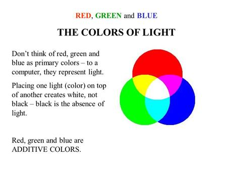 THE COLORS OF LIGHT RED, GREEN and BLUE