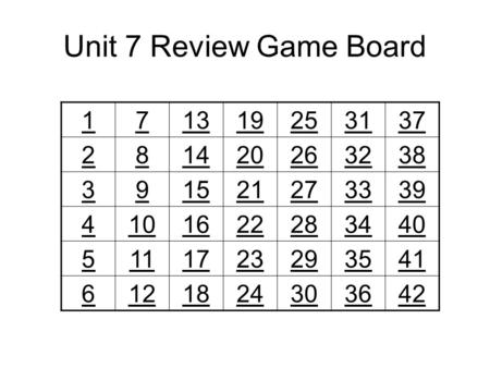 Unit 7 Review Game Board 171319253137 281420263238 391521273339 4101622283440 5111723293541 6121824303642.