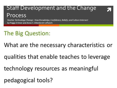 Teacher Technology Change: How Knowledge, Confidence, Beliefs, and Culture Intersect by Peggy Ertmer and Anne T. Ottenbreit-Leftwich Staff <strong>Development</strong>.