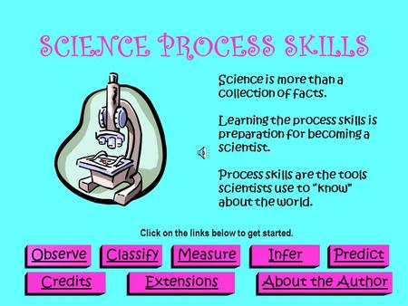 SCIENCE PROCESS SKILLS ObserveClassifyMeasureInferPredict CreditsExtensionsAbout the Author Science is more than a collection of facts. Learning the process.