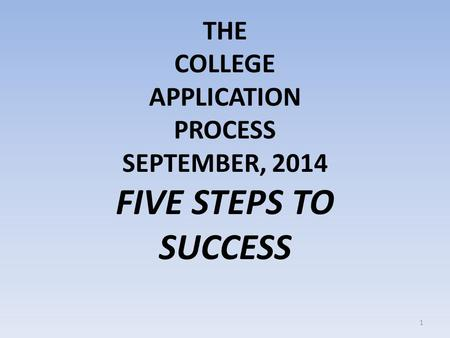 THE COLLEGE APPLICATION PROCESS SEPTEMBER, 2014 FIVE STEPS TO SUCCESS 1.