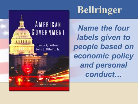 Bellringer Name the four labels given to people based on economic policy and personal conduct…