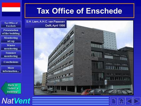 Tax Office of Enschede S.H. Liem, A.H.C. van Paassen Delft, April 1998 S.H. Liem, A.H.C. van Paassen Delft, April 1998 Presentation of the building Presentation.