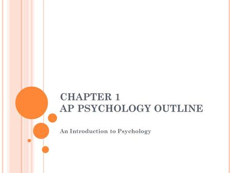 CHAPTER 1 AP PSYCHOLOGY OUTLINE An Introduction to Psychology.