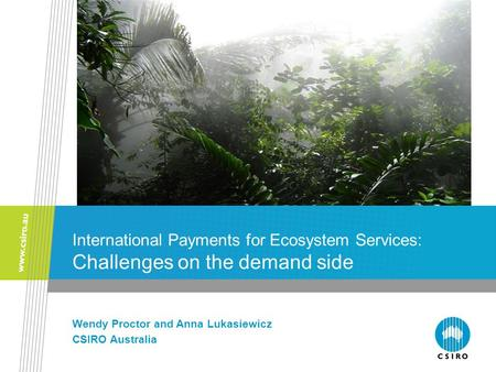 International Payments for Ecosystem Services: Challenges on the demand side Wendy Proctor and Anna Lukasiewicz CSIRO Australia.