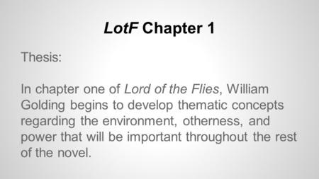 lord of the flies setting analysis