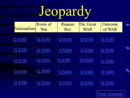 Jeopardy Nationalism Roots of War Russian Rev The Great WAR Outcome of WAR Q $100 Q $200 Q $300 Q $400 Q $500 Q $100 Q $200 Q $300 Q $400 Q $500 Final.