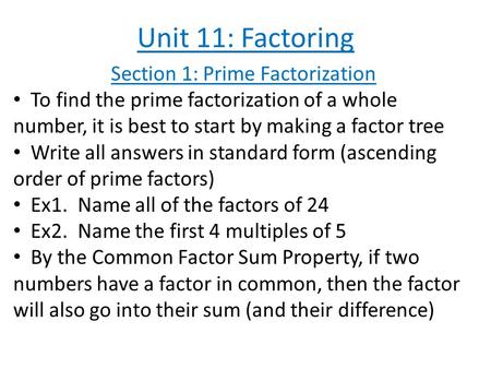 Section 1: Prime Factorization