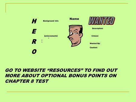 "Background Info Achievements:  Crimes: Wanted By: Caution: Description: Name GO TO WEBSITE ""RESOURCES"" TO FIND OUT MORE ABOUT OPTIONAL BONUS POINTS ON."