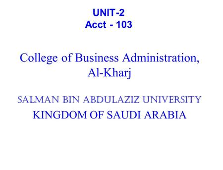 College of Business Administration, Al-Kharj