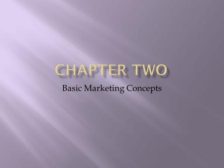 Basic Marketing Concepts. Objectives: 1. The Marketing Concept 2. The difference between customers and consumers 3. What a market is and how it can be.