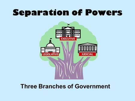 Separation of Powers Three Branches of Government.