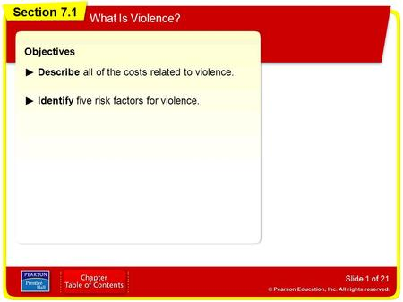 Section 7.1 What Is Violence? Objectives