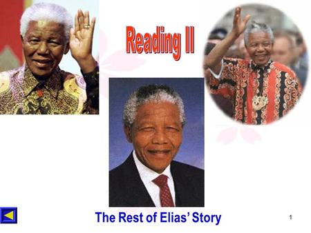 1 The Rest of Elias' Story. 2 Could you imagine the life of Mandela and Elias in prison. Find some words to describe it. Warming up----Brainstorming (2m)