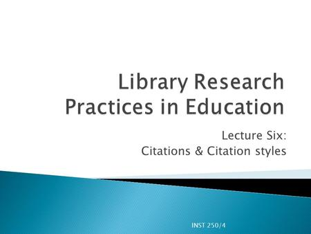 Library Research Practices in Education