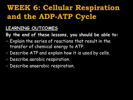 WEEK 6: Cellular Respiration and the ADP-ATP Cycle LEARNING OUTCOMES By the end of these lessons, you should be able to: Explain the series of reactions.