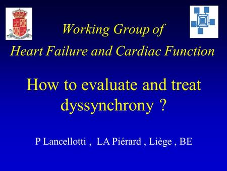 Working Group of Heart Failure and Cardiac Function How to evaluate and treat dyssynchrony ? P Lancellotti, LA Piérard, Liège, BE.