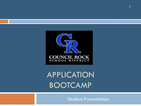 APPLICATION BOOTCAMP Student Presentation 1.  Continue discussion regarding college exploration process  Guide students in finding the 'best fit' colleges.