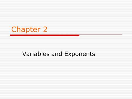 Variables and Exponents