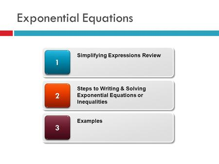 Exponential Equations 33 22 11 Simplifying Expressions Review Steps to Writing & Solving Exponential Equations or Inequalities Examples.