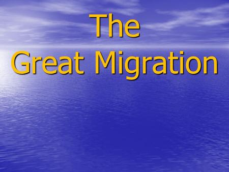 The Great Migration. The movement of 1.6 million African Americans out of the rural Southern United States to the urban Northeast, Midwest, and West between.