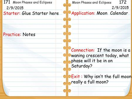 Starter: Glue Starter here Practice: Notes 171 172 Moon Phases and Eclipses 2/5/2013 Application: Moon Calendar Connection: If the moon is a waning crescent.