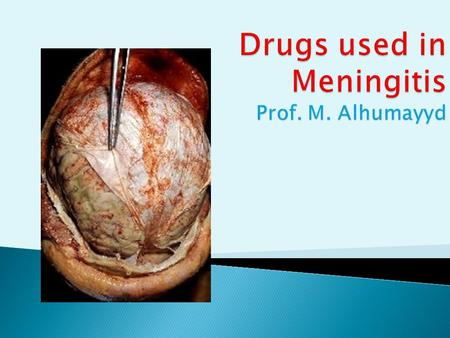  At the end of the lecture, students should :  Describe briefly common types of meningitis  Describe the principles of treatment  List the name of.