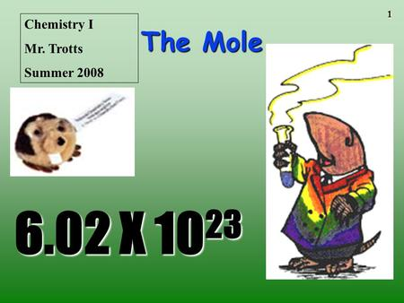 1 The Mole 6.02 X 10 23 Chemistry I Mr. Trotts Summer 2008.