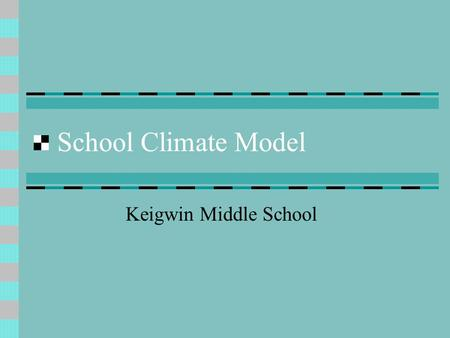 School Climate Model Keigwin Middle School. Effective Behavioral Support This is a model in which students are taught the expected behavior that has been.