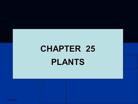 9/22/2015 CHAPTER 25 PLANTS. 9/22/2015 PLANTS Most are autotrophic organisms Most are autotrophic organisms Provide food for themselves and the world.
