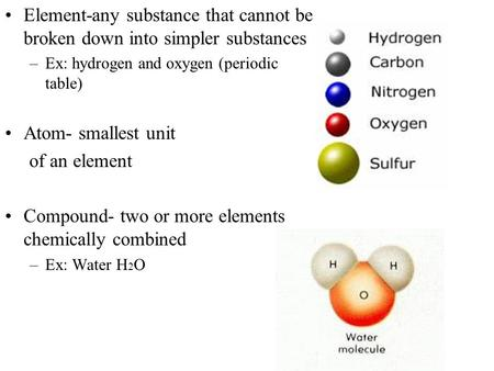 Compound- two or more elements chemically combined
