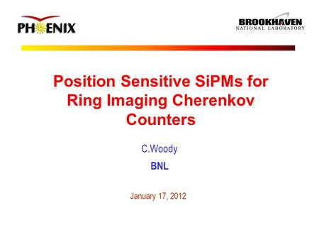 Position Sensitive SiPMs for Ring Imaging Cherenkov Counters C.Woody BNL January 17, 2012.