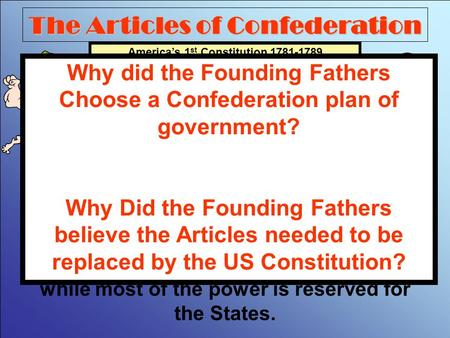 The Articles of Confederation America's 1 st Constitution 1781-1789 The first system of government designed by the Founding Fathers was a Confederation.