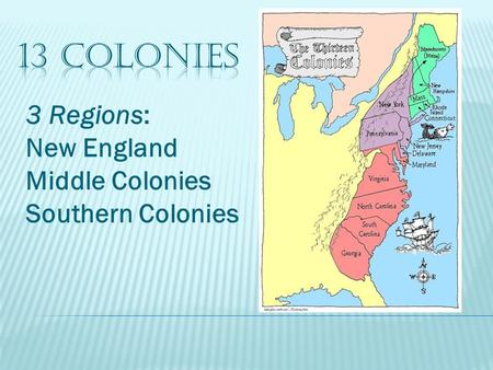 13 Colonies 3 Regions: New England Middle Colonies Southern Colonies.