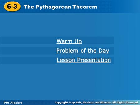 6-3 Warm Up Problem of the Day Lesson Presentation