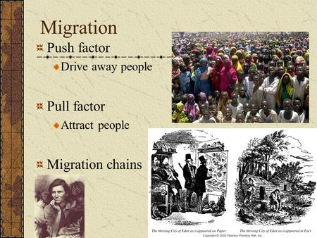 Migration Push factor Pull factor Migration chains Drive away people