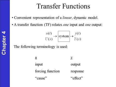Transfer Functions Chapter 4