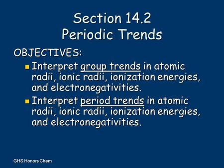 Section 14.2 Periodic Trends